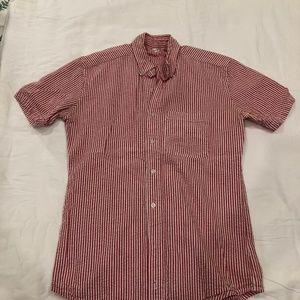 American Apparel Red Stripe Short Sleeve ButtonDwn